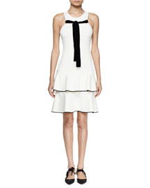 Sleeveless Front-Tie Tiered Dress, Off White/Black