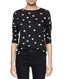 Long-Sleeve Dotted Jersey Top, Black/White