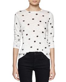 Long-Sleeve Dot-Print T-Shirt, White/Black