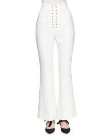 Fluid Cady High-Rise Flare-Leg Pants, White