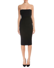 Strapless Fitted Matte Crepe Dress, Black