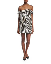 Off-the-Shoulder Striped Silk Dress, Black/White