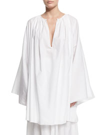 Melody Wide-Sleeve Ruched-Neck Blouse, White