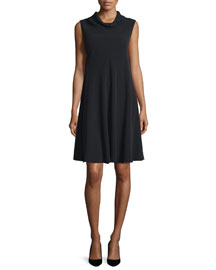 Sleeveless Cady Cowl-Neck Swing Dress, Black