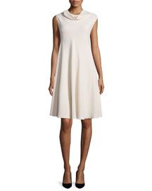 Jenphen Sleeveless Cady Cowl-Neck Swing Dress, Alabaster