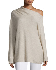 Long-Sleeve Asymmetric Off-the-Shoulder Sweater, Alabaster
