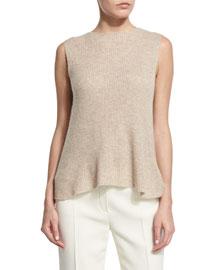 Sleeveless Ribbed Crewneck Sweater, Alabaster Melange