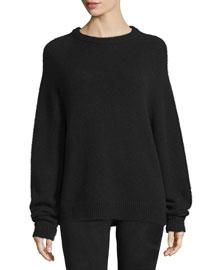 Long-Sleeve Crewneck Sweater, Black