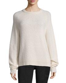 Long-Sleeve Crewneck Sweater, Cream