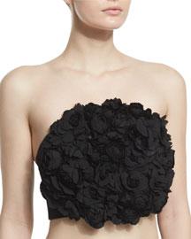 Strapless Applique-Embellished Crop Top, Black
