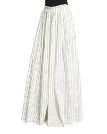 Wide-Leg Striped Poplin Pants, White