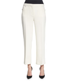 Floc Mid-Rise Straight Cropped Pants, Off White