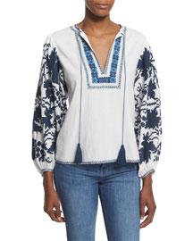 Salma Embroidered Peasant Top, White/Blue