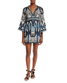 Colomba Ikat-Print Dress, Black/Multi