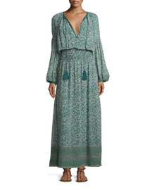 Floral-Print Bishop-Sleeve Blouson Maxi Dress, Green/Multi