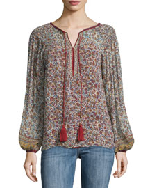 Long-Sleeve Floral-Print Tassel Blouse, Red