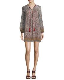 Nidhi Long-Sleeve Silk Dress, Red