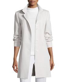 Three-Button Wool Gabardine Coat, Pearl
