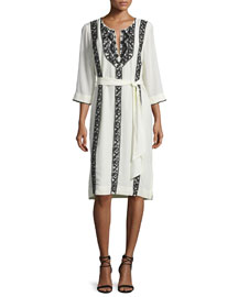 Panita Embroidered Silk Caftan Dress, Fossil