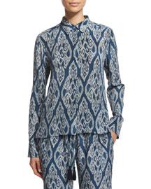 Miche Ikat-Print Silk Top, Indigo