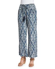 Niara Ikat-Print Silk Pants, Indigo
