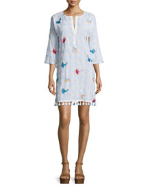 Lila Bird-Embroidered Tunic Dress, Clean White