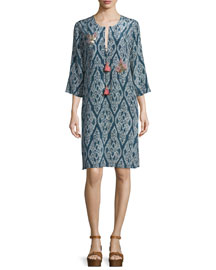 Abella Printed Silk Tunic Dress, Indigo