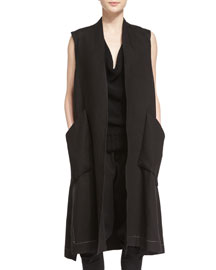 Sleeveless Long Linen Side-Slit Vest, Black