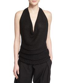 Sleeveless Knit Cowl-Neck Top, Black