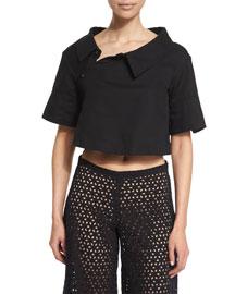 Short-Sleeve Asymmetric-Collar Crop Top, Black