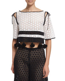 Half-Sleeve Eye Pompom Crop Top, White