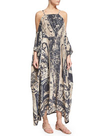 Printed Cold-Shoulder Silk Caftan Dress
