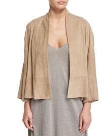 Suede Kimono Swing Jacket, Parchment