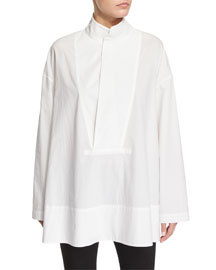 Side-Slit Cotton Stand-Collar Tunic, Salt