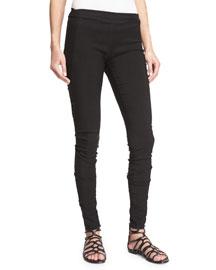 Stretch-Denim Skinny Pants, Black