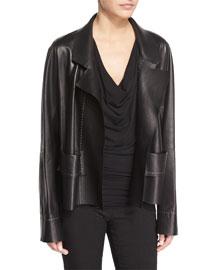 Boxy Leather Jacket, Black
