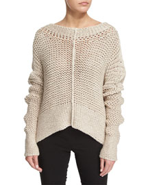 Cropped Knit Linen Sweater, White Pepper