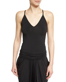 Stretch-Knit Racerback Cami Top, Black