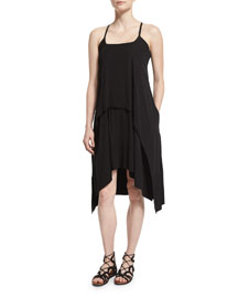 Sleeveless Fluid Layer Dress, Black