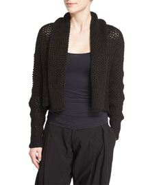 Cropped Knit Linen Bolero Sweater, Black