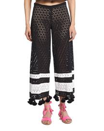 Wide-Leg Eyelet Pompom Pants, Black