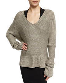 Long-Sleeve Draped Knit Sweater, Sage