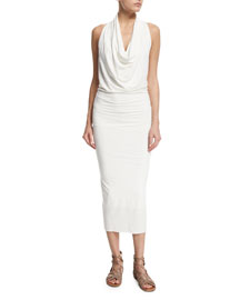 Sleeveless Jersey Cowl-Neck Midi Dress, Salt