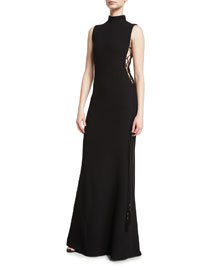 Mock-Neck Side-Tie Column Gown, Black