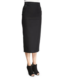 Fitted Sailor Pencil Skirt, Black