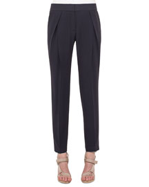 Pleated Fluid Crepe Pants, Navy