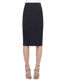 Mid-Length Jersey Pencil Skirt, Navy