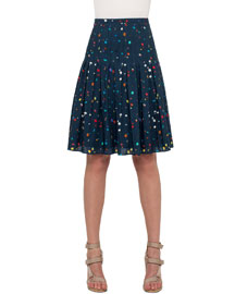 Stitch-Pleated Boulder-Print Skirt, Navy