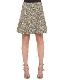 Flounced Static Tweed Skirt, Multi