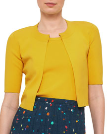 Half-Sleeve Cropped Knit Cardigan, Xanthoria